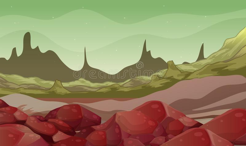 Background scene with rocks in the field vector illustration