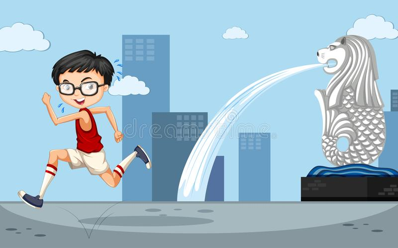 Background scene wtih boy running by the merlion vector illustration