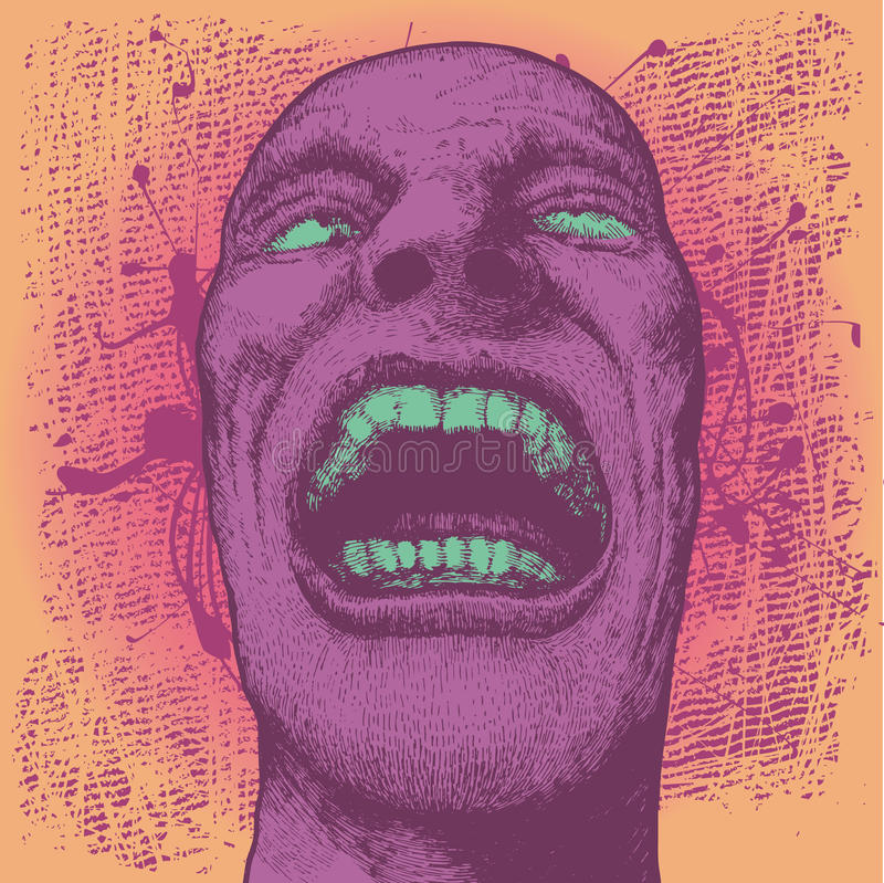 Background with screaming man's head stock illustration
