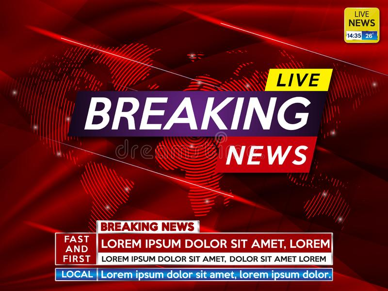 Background screen saver on breaking news stock images