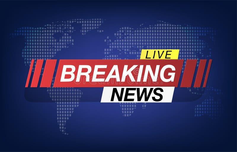 Background screen saver on breaking news. Breaking News Live on World Map Background. Vector Illustration. stock illustration