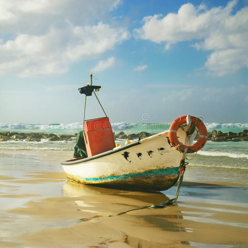 Old Fishing Boats On Beach: Old Fishing Boat Beach Red Sea Israel Stock Images