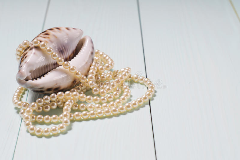 Background with sea cockleshells and pearls. Decor of seashells close-up on blue wooden table. Sea objects - shells, pearls. Background with sea cockleshells and royalty free stock photography