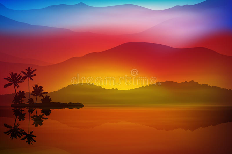 Background with sea and palm trees. Sunset time. vector illustration