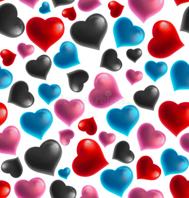 Background seamless 3D heart pattern, Vector illustration. Background seamless 3D heart pattern, great for Valentine`s Day, Mother`s day, Wedding day, Birthday royalty free illustration