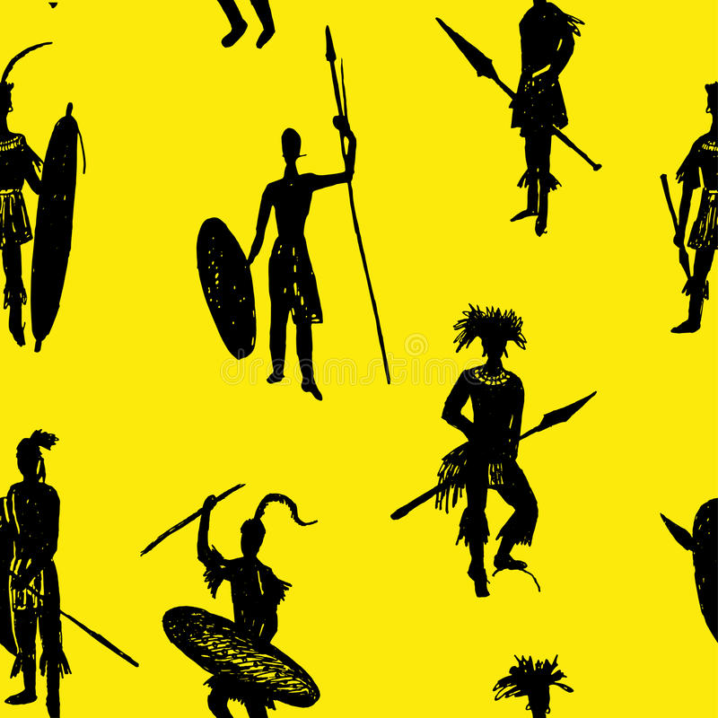Background seamless pattern African tribal warriors in the battle suit and arms drawing sketch hand-drawn illustration royalty free illustration