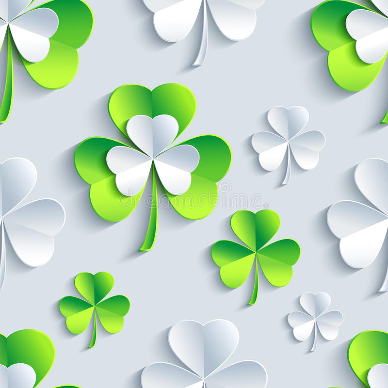 Background seamless pattern with 3d Patrick clover vector illustration