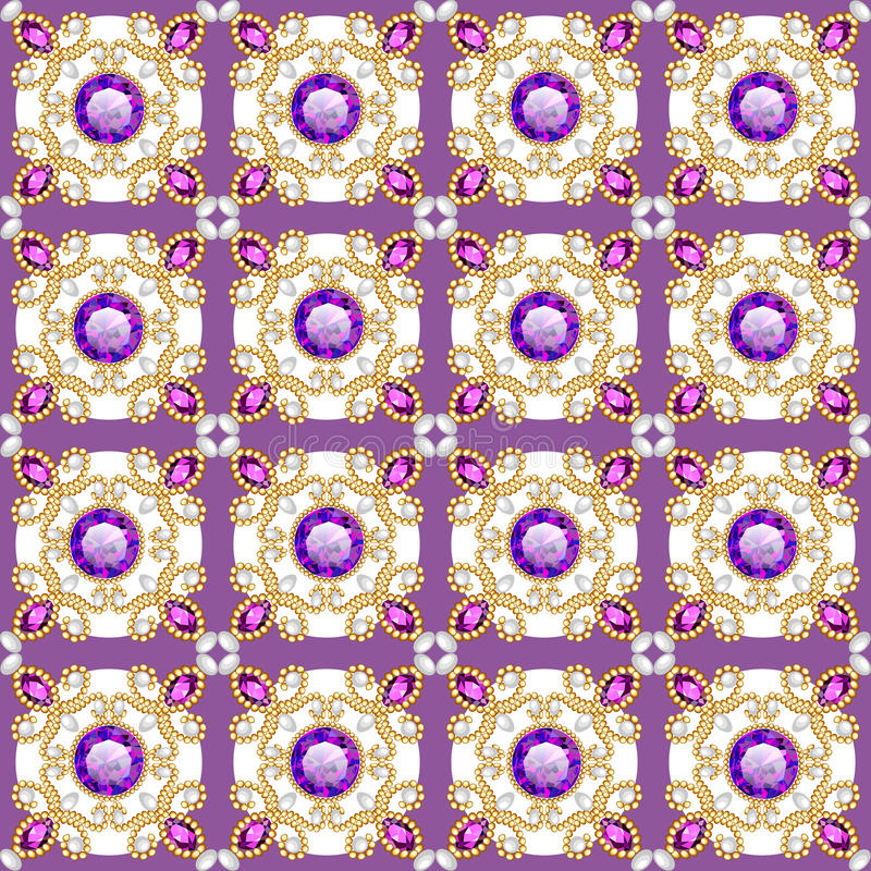 background seamless with pattern and gems stock illustration