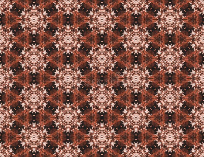 Background seamless pattern from the hexagon and triangle figures brown colored. Geometric mandala design template with symmetric. Brown background pattern from royalty free illustration