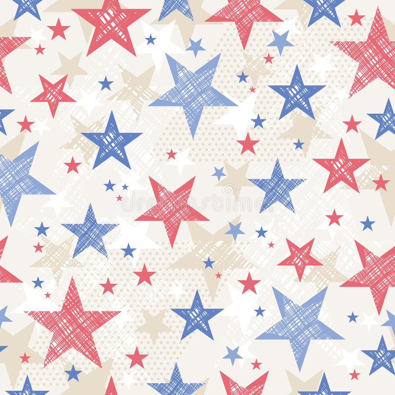 Background with Seamless pattern with red and blue stars stock images