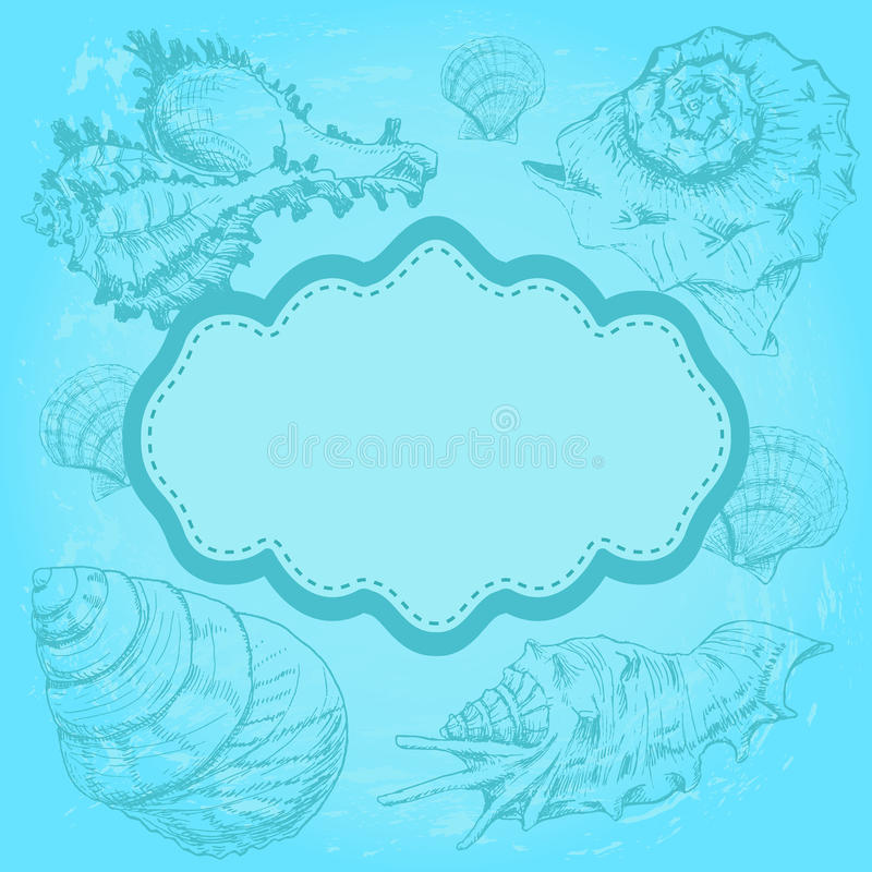 Background with seashells. And frame. Hand drawing sketch vector illustration vector illustration