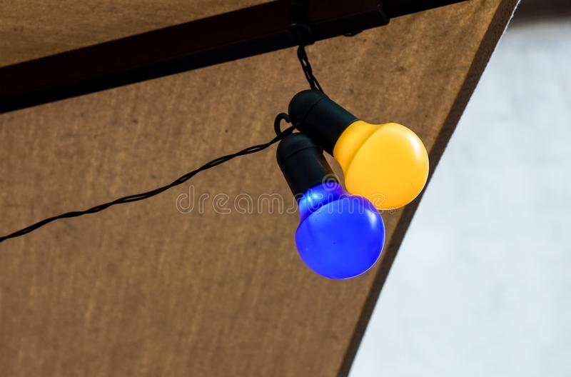 Background series : Colorful light bulbs stock image