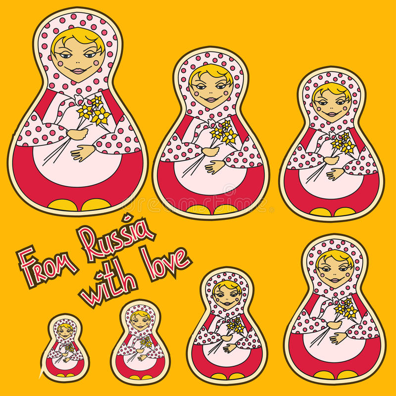 Download Background With Set Of Russian Dolls Matrioshka Stock Vector - Illustration: 30992980