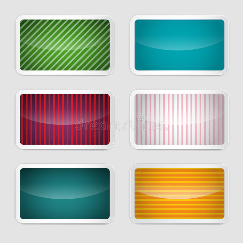 Background Set - Vector Retro Paper Colorful Cards royalty free illustration