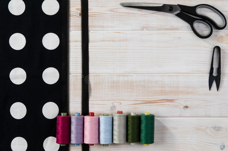 Background with sewing and knitting tools. Top view royalty free stock photography