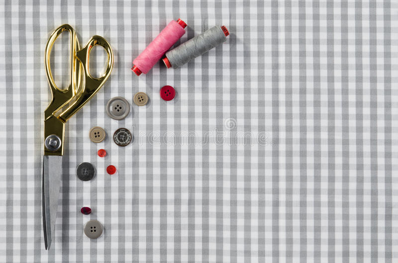Background with sewing and knitting tools. Top view. Concept image of sewing accessories. Image taken from above, top view. Background for creative fashion blog stock image
