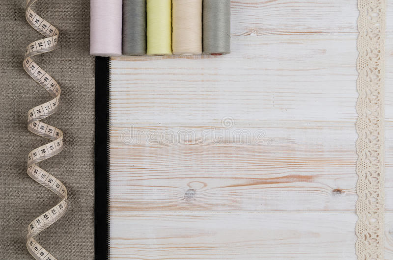 Background with sewing and knitting tools. Top view royalty free stock images