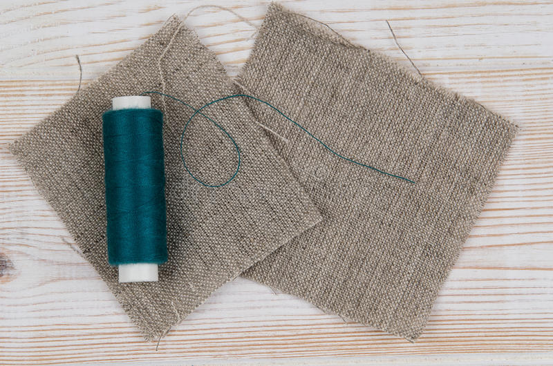 Background with sewing and knitting tools. Top view royalty free stock photo
