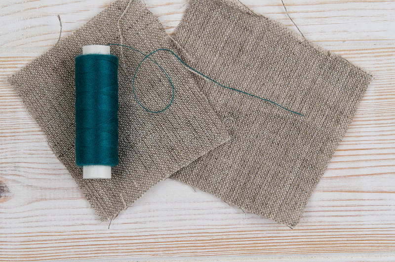 Background with sewing and knitting tools. Top view stock photography