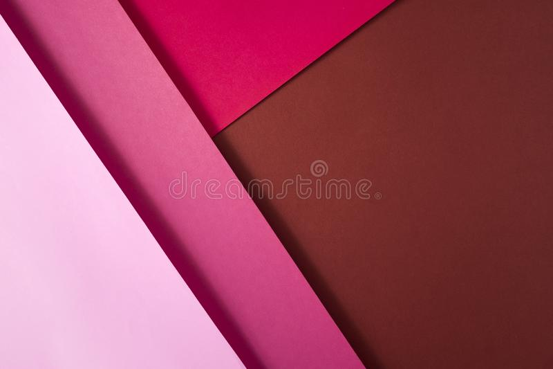 Background of shape and geometry. Colored background decorations with paper. Shades of pink stock photo