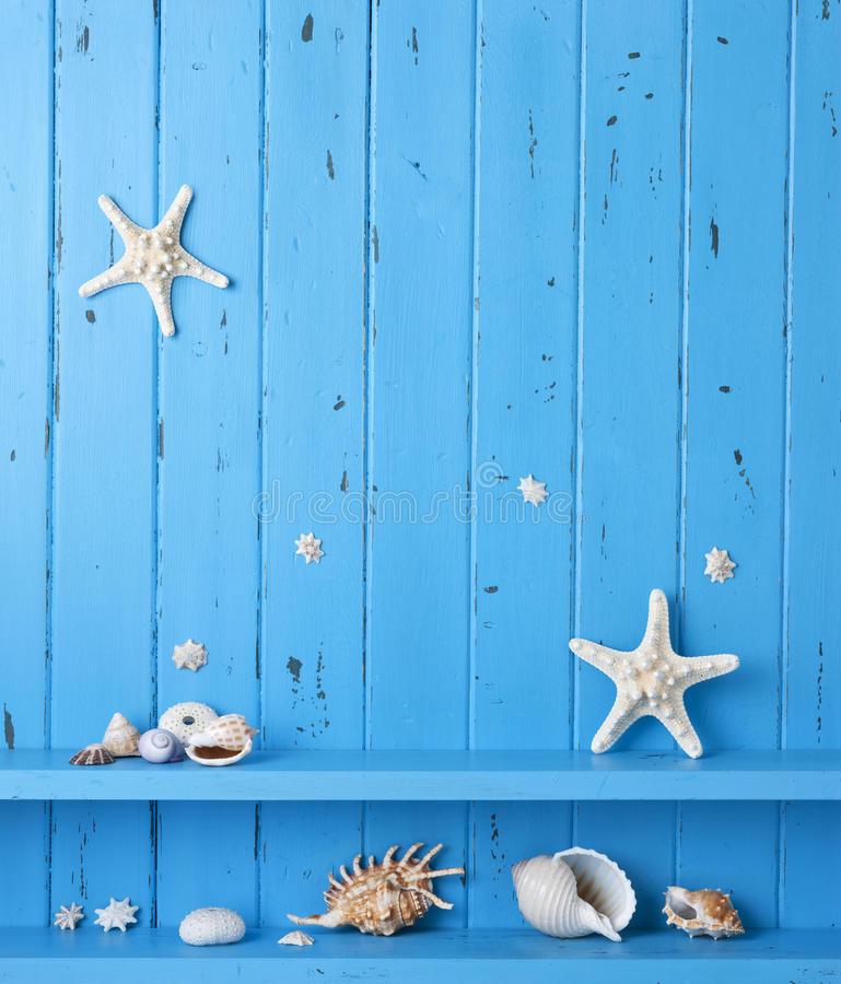 Download Wood Background Shells Starfish Stock Image