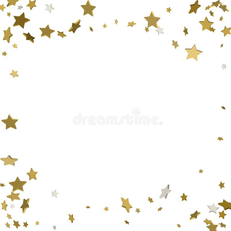 Background with shiny gold stars. golden confetti frame royalty free illustration