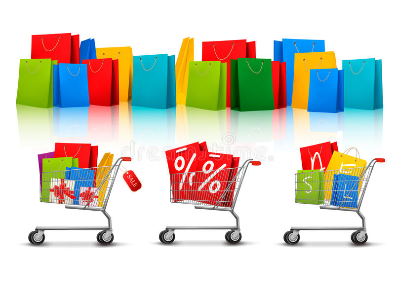 Download Background With Shopping Color Bags Stock Vector - Image: 28778903