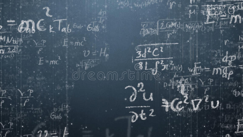 Background shot of blackboard with scientific and algebraic formulas and graphs written on it in graphics. Business. Concept - sketch with schemes and graphs on stock photo