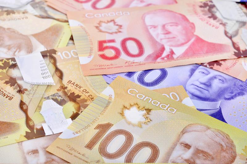 Canadian banknotes Background. Background shot of Canadian banknotes, Canadian banknotes are the banknotes or bills of Canada royalty free stock image