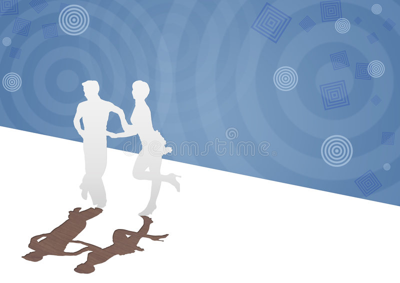 Background with a silhouette of the dancing pair stock illustration