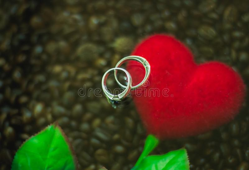Background Silver ring couples are placed on red hearts and coffee.background noise and blurred stock image