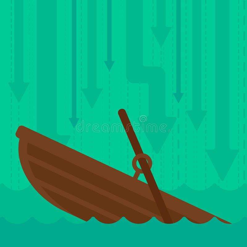 Background of sinking boat and arrows moving down. vector illustration