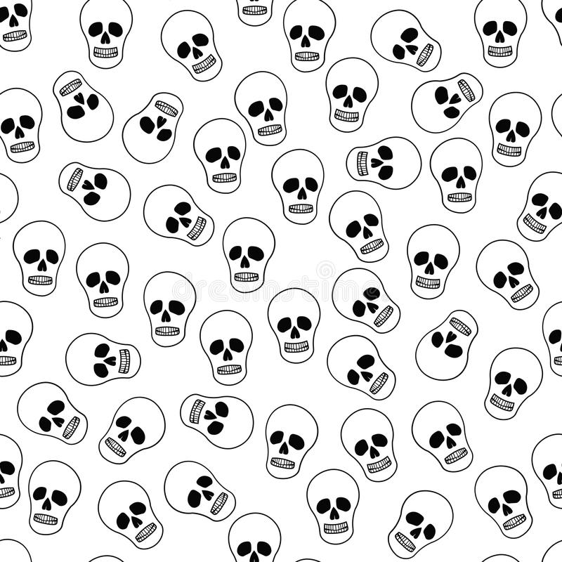 Background with skeletons. Background with skull skeleton. The background to Halloween with funny cartoon skeleton royalty free illustration