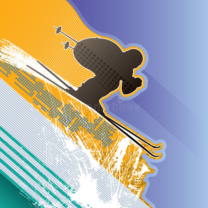 Download Background with skier stock vector. Image of silhouette - 10441409