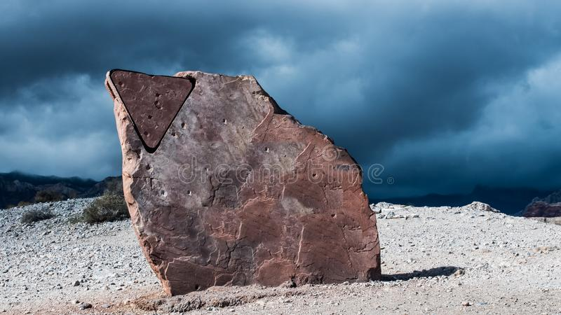 Background sky with a red rock in foreground stock photo