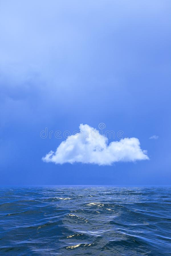 Background of sky with a single cloud reflected in water or ocea stock photo