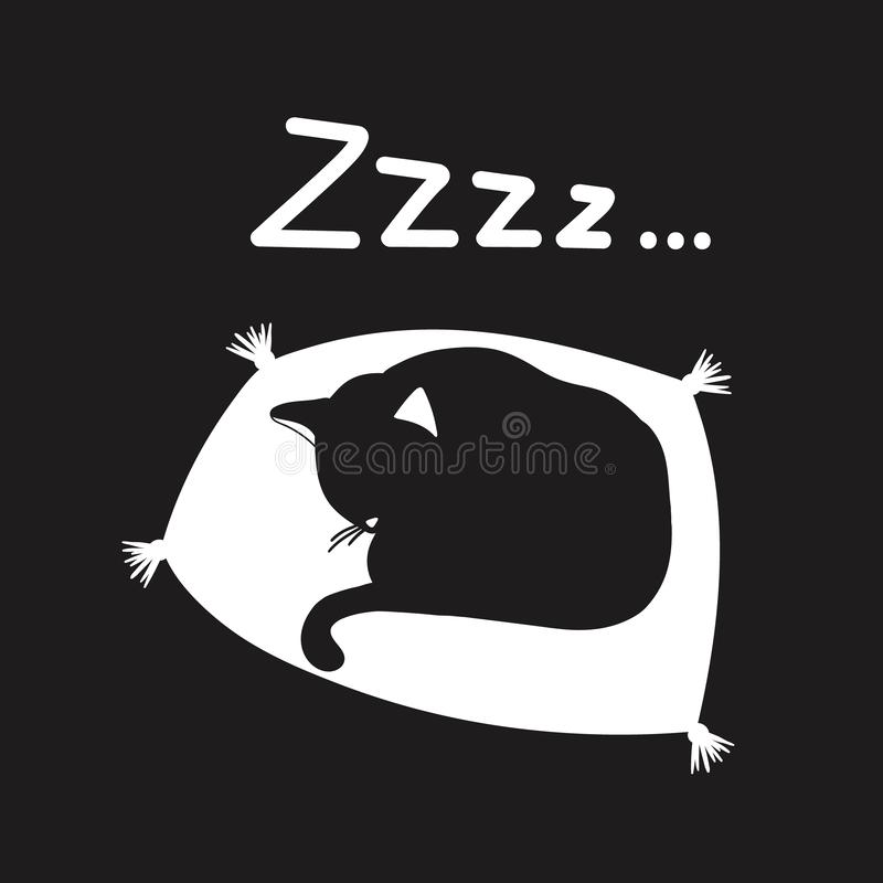 Background with sleeping cat and text. Zzzz. Hand drawn illustration with sleeping cat and lettering. Cute background vector. Good night, poster design. Backdrop vector illustration