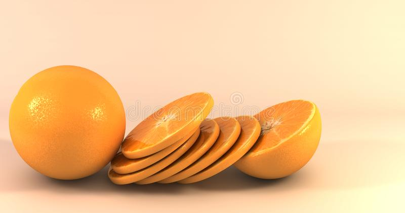 A background with sliced oranges. Realistic background with sliced oranges stock illustration