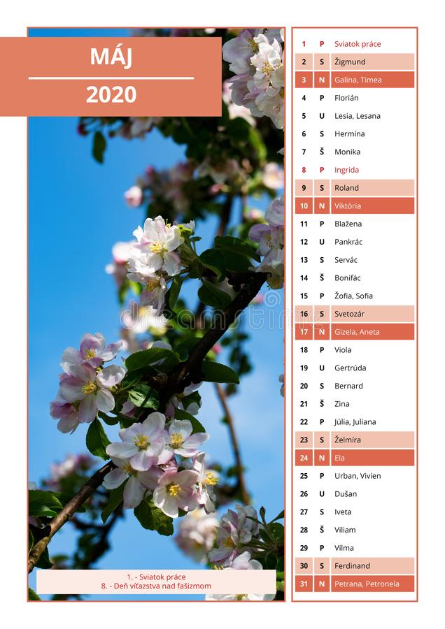 Slovak calendar with names for May 2020. Background Slovak calendar with names for May 2020 stock photography