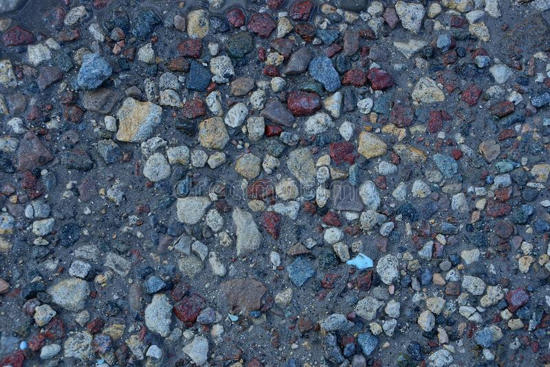 Texture of small colored pebbles on wet ground. Background of small colored pebbles on wet ground stock images