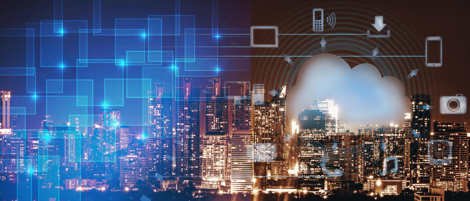 Smart city intelligence networking on cloud technology, night cityscape with digital and cloud technology sign and royalty free illustration