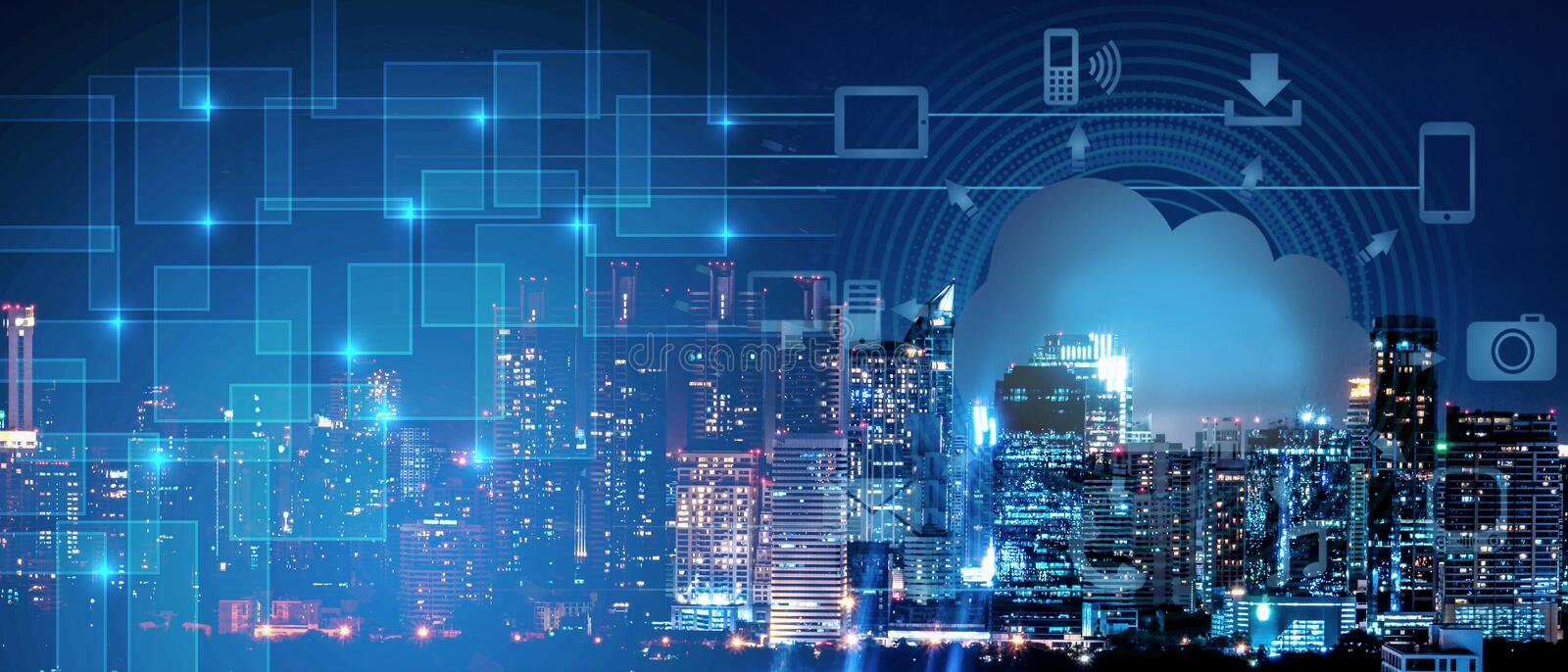 Background of smart city intelligence networking on clound technology, night cityscape with digital and cloud technology sign and stock photo