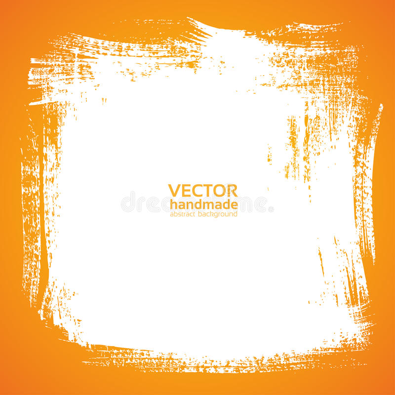 Background smear paint bristle brush on orange vector illustration