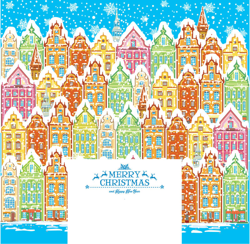 Background of snowy old town royalty free illustration
