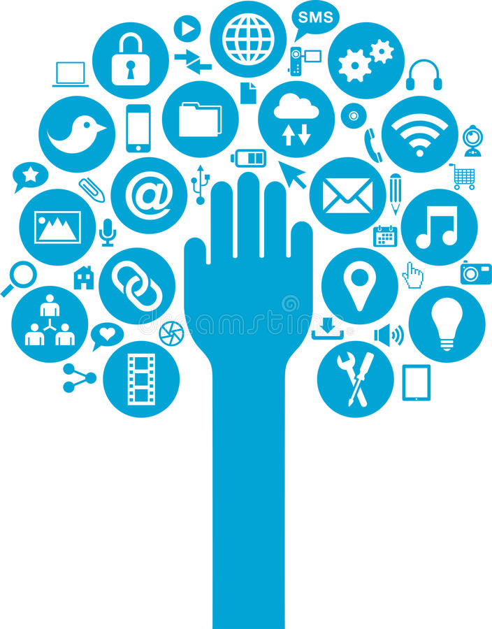 Download Social Media And Business Icons With Hand Over Stock Images - Image: 30196684