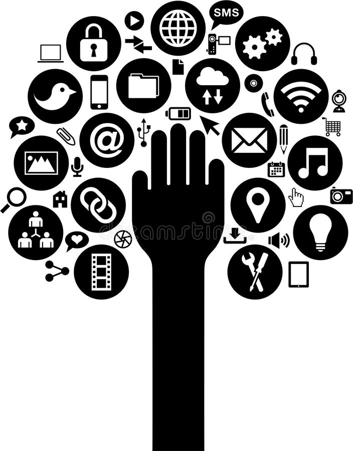 Social media and Business icons with hand over