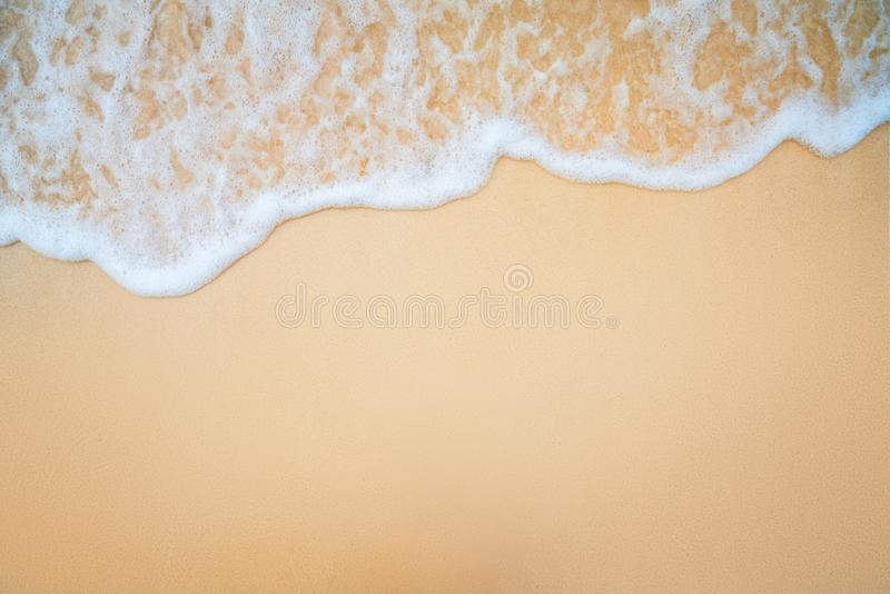 Background  of Soft Blue Ocean Wave On Sandy Beach.  royalty free stock photos
