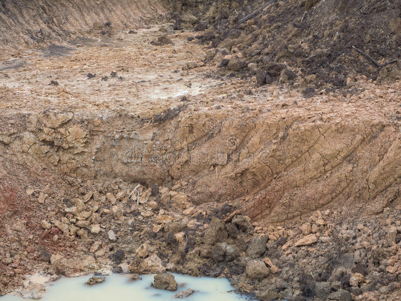Background soil dug canals. Close background coastal canal, which was dug into the ground and used in agriculture royalty free stock photos