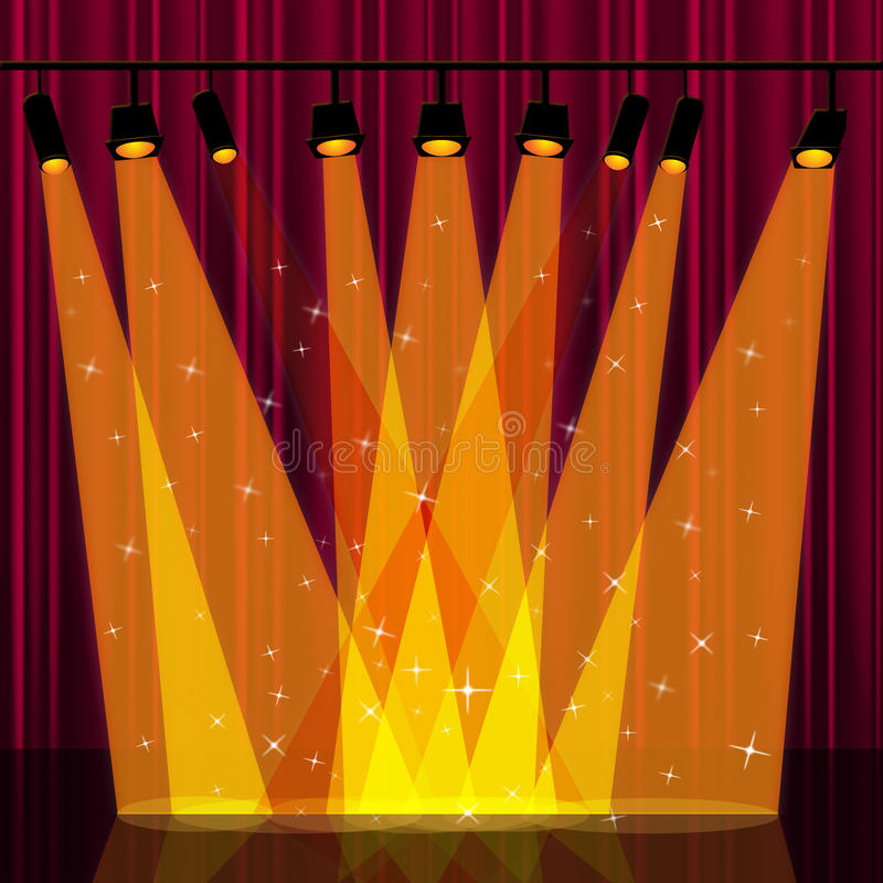 Theater Lights Background: Background Spotlight Indicates Stage Lights And Backdrop