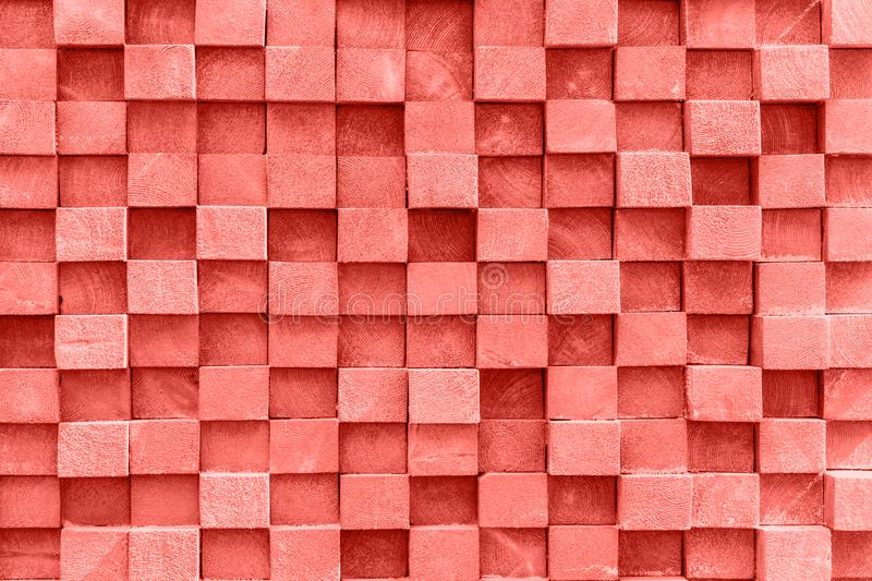 Background of the square ends of the wooden bars. Living Coral C royalty free stock image